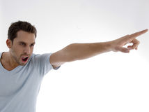 Portrait of handsome young man. Young man yelling on an isolated white backgound Stock Image
