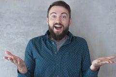 Portrait of a handsome successful young man with a beard in a shirt with a joyful expression. stock image