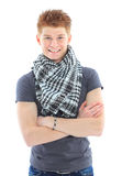 Portrait of handsome young man in casual clothes standing over w Royalty Free Stock Images