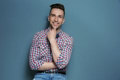 Portrait of handsome young man. On color background Royalty Free Stock Photos
