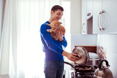 Portrait of handsome young man cooking with cat in the kitchen royalty free stock photos