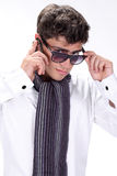 Portrait of a handsome young man in glasses. Posing on white background Royalty Free Stock Photography