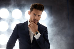Portrait of a handsome, young man in the night club. Portrait of a handsome, young guy in the night club Royalty Free Stock Photo