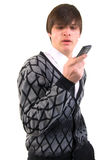Portrait Of A Handsome Young Man With Phone. Stock Photo