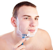 Portrait of handsome shaving man Royalty Free Stock Photography