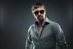 Portrait of handsome young man in sundglasses Stock Photo