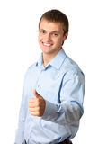 Portrait of a handsome young man, thumb up Royalty Free Stock Photo