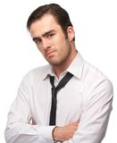 Portrait of a handsome young man in white shirt and necktie Royalty Free Stock Photos