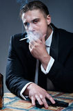 Portrait of handsome young mobster Stock Photography