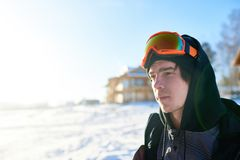 Side View Portrait of Snowboarder stock photo