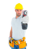 Portrait of handyman using power drill Royalty Free Stock Photos