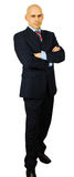 Portrait of hansome businessman fold his arms. Isolated on white with clipping path Royalty Free Stock Image