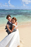 Portrait of happily married couple on caribbean islands stock photos