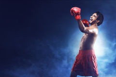 Portrait of happiness asian boxer man Royalty Free Stock Image