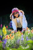 Portrait of happiness asian woman with smiling face in blooming Stock Photos