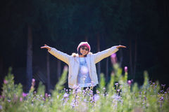 Portrait of happiness asian woman with smiling face in blooming Stock Images