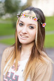 Portrait of happiness beautiful girl hippie style, outdoor. Royalty Free Stock Photo