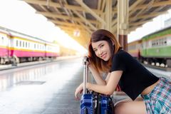 Portrait happiness beautiful traveler woman. Pretty girl get sat stock photography