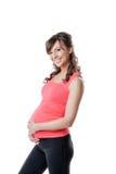 Portrait of happy active pregnant woman stock photo