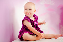 Portrait of happy adorable baby girl royalty free stock photos