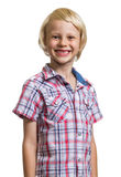 Portrait of happy adorable boy looking at camera. Portrait of a happy, handsome boy looking at camera isolated on white stock photography