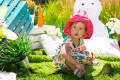 Portrait of happy adorable child girl outdoor. Cute little kid in summer day stock images