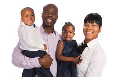 Portrait of Happy African American Family Isolated Stock Images
