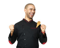 Portrait of  happy  Afro American professional cook isolated. Stock Photography