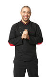 Portrait of happy Afro American professional cook isolated. Royalty Free Stock Photo