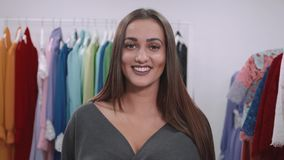 Portrait of happy arabian brunette with smile after shopping in mall stock video footage