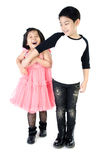 Portrait of happy asian boy and girl having fun. Isolate on white background Stock Image