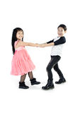 Portrait of happy asian boy and girl having fun. Isolate on white background Stock Photo