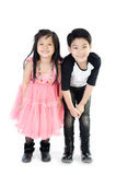 Portrait of happy asian boy and girl having fun. Isolate on white background Royalty Free Stock Image