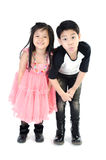 Portrait of happy asian boy and girl having fun. Isolate on white background Royalty Free Stock Photography