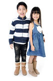 Portrait of happy asian boy and girl having fun. Portrait of happy asian boy and girl ,winter style  isolate on white background Royalty Free Stock Photography