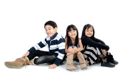 Portrait of happy asian boy and girl having fun. Portrait of happy asian boy and girl ,winter style  isolate on white background Royalty Free Stock Photos