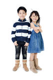 Portrait of happy asian boy and girl having fun. Portrait of happy asian boy and girl ,winter tearm  isolate on white background Stock Photos