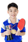 Portrait of Happy asian boy play table tennis Stock Photography