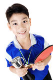 Portrait of Happy asian boy play table tennis Stock Photos