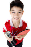 Portrait of Happy asian boy play table tennis Royalty Free Stock Photography
