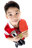 Portrait of Happy asian boy play table tennis Royalty Free Stock Photo