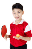 Portrait of Happy asian boy play table tennis Stock Image
