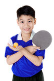 Portrait of Happy asian boy play table tennis Royalty Free Stock Images