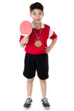 Portrait of Happy asian boy play table tennis Royalty Free Stock Image