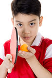Portrait of Happy asian boy play table tennis Royalty Free Stock Photos