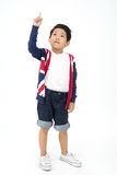 Portrait of happy asian boy is thinking Royalty Free Stock Images