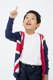 Portrait of happy asian boy is thinking Stock Photos