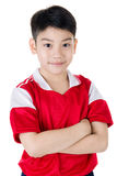 Portrait of Happy asian cute boy in red sport uniform Royalty Free Stock Photos