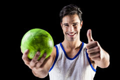 Portrait of happy athlete showing thumbs up Stock Photos