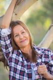 Portrait happy attractive mature country woman Stock Photo